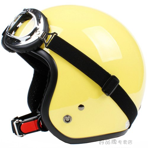 """H.22 Taiwan """" SYC """" Retro ABS Scooter Open Face Motorcycle Full Gloss Yellow Helmet & UV Goggles"""