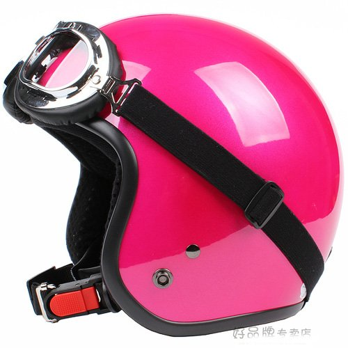 """H.23 Taiwan """" SYC """" Retro ABS Open Face Motorcycle Full Gloss Peach Red Helmet & UV Goggles"""
