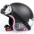 "H.33 Taiwan "" EVO "" ABS Open Face Motorcycle ""Hello Kitty"" Matt Black Helmet & UV Goggles"