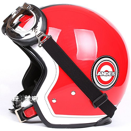 """H.42 Taiwan """" EVO """" 3/4 Motorcycle Helmet Open Face Helm OFF Road """" grid """" Red Casco & UV Goggles"""