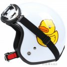 "H.47 Taiwan ""EVO"" 3/4 Open Face Casco Motorcycle "" Yellow B.DUCK "" Bright White Helmet & UV Goggles"