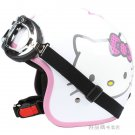 "H.53 Taiwan "" EVO "" ABS Half Face Motorcycle "" Big Face Hello Kitty "" White Helmet & UV Goggles"