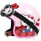 "H.57 Taiwan "" EVO "" Retro OFF Road Casco Motorcycle ''Hello Kitty"" Bowknot Pink Helmet & UV Goggles"