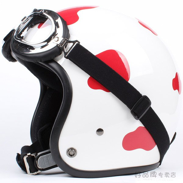 "H.79 Taiwan "" HUA TAI "" ABS Open Face Helm Motorcycle dairy cow Red # White Helmet & UV Goggles"