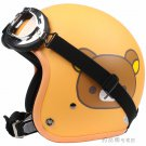 "H.92 Taiwan ""HUA TAI"" OFF Road Casco Motorcycle Rilakkuma Bear Matt Orange Helmet & UV Goggles"