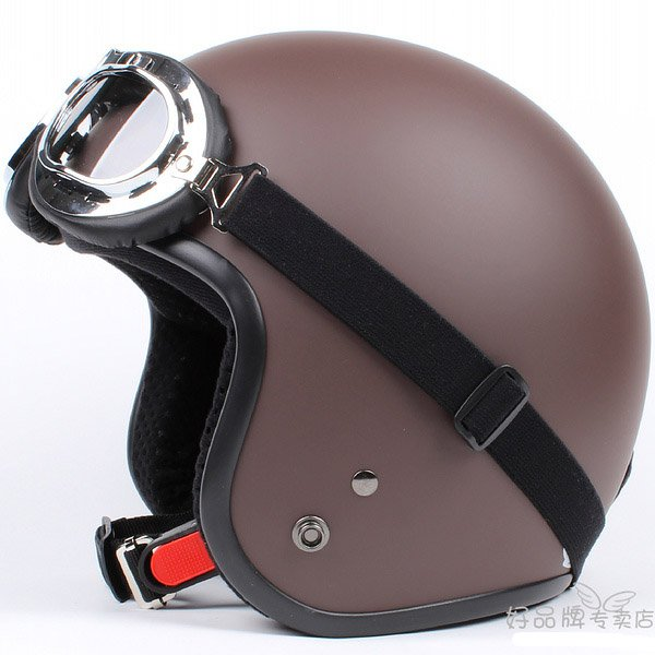 "H.118 Taiwan "" SYC "" Scooter Half Face Motorcycle Matt Brown Coffee Helmet & UV Goggles"
