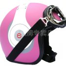 "H.120 Taiwan "" EVO "" Scooter Half Face Motorcycle "" e earphone HD"" Matt Pink Helmet & UV Goggles"