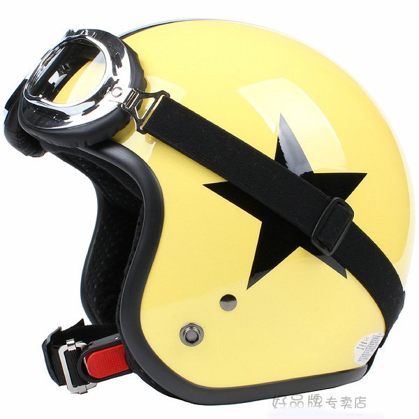 "H.121 Taiwan "" SYC "" Scooter Half Face Motorcycle Yellow & Black Star Helmet & UV Goggles"