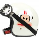 "H.128 Taiwan ""EVO"" Scooter Casque Open Face Casco Motorcycle ""Monkey"" Bright White Helmet & Goggles"