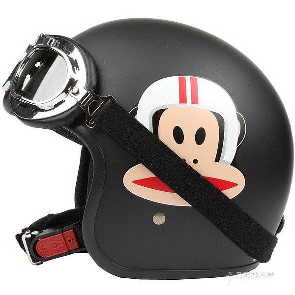 "H.130 Taiwan ""EVO"" Scooter Casque Open Face Casco Motorcycle ""Monkey"" Matt Black Helmet & Goggles"