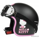 "H.142 Taiwan ""EVO"" Open Face Casco Motorcycle "" Hello Kitty Big Face "" Matt Black Helmet & Goggles"
