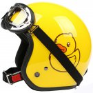 "H.143 Taiwan "" EVO "" Open Face Casco Motorcycle "" Yellow B.DUCK"" Yellow Helmet & UV Goggles"