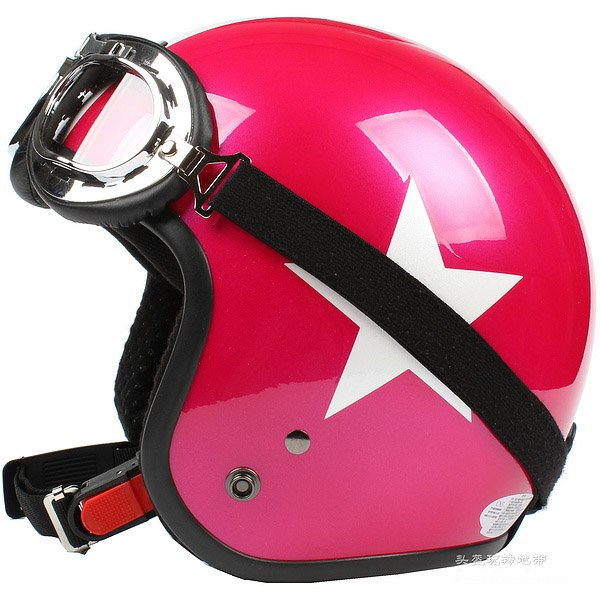 "H.144 Taiwan ""SYC"" Scooter Casco Open Face Casque Motorcycle Rose # Red Star Helmet & Goggles"