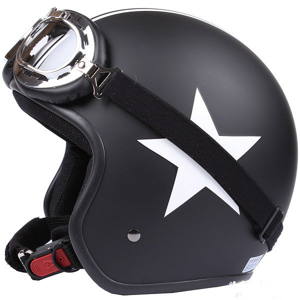 "H.145 Taiwan ""EVO"" Scooter Casco Open Face Motorcycle Matte Black # White Star Helmet & Goggles"