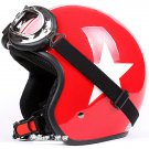 "H.148 Taiwan "" EVO "" Casco off road Casque Motorcycle Gloss Red # White Star Helmet & Goggles"