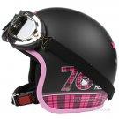 "H.149 Taiwan "" EVO "" Scooter Casco Helm Motorcycle "" 76 Hello Kitty "" Matt Black Helmet & Goggles"