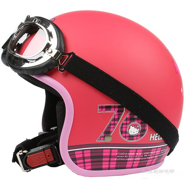 "H.150 Taiwan "" EVO "" Scooter Casco Helm Motorcycle "" 76 Hello Kitty "" Matte Red Helmet & Goggles"