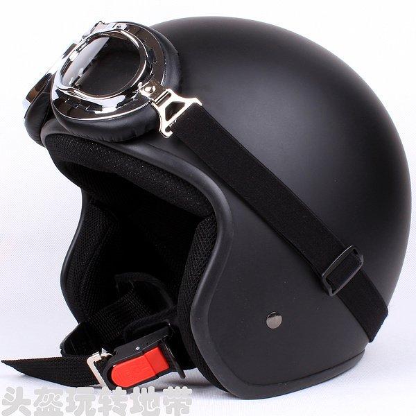 "H.163 Taiwan "" EVO "" Cycling Scooter Open Face Casco Motorcycle Matt Black Helmet & Goggles"