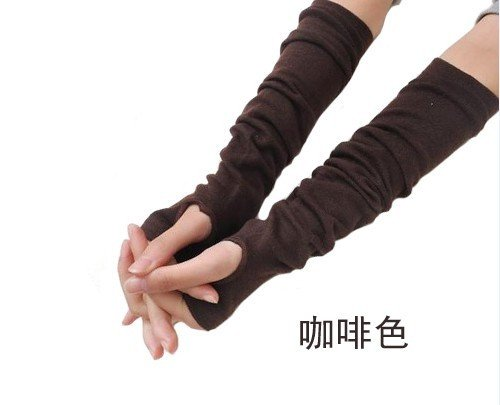 Coffee lady Fingerless Warmer Mitten long gloves wrist cover arm Half glove with Women fingers