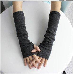 Dark Gray lady Fingerless Warmer Mitten long gloves wrist cover arm Half glove with Women fingers