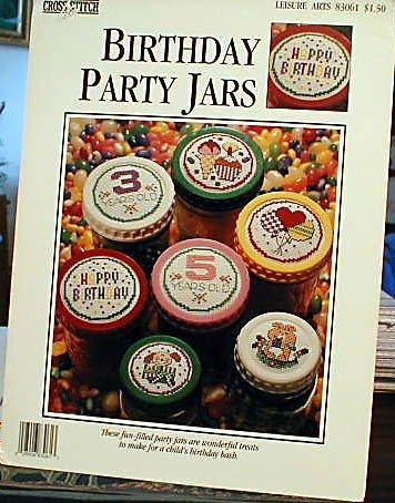 Birthday Party Jars - Cross Stitch