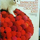 Pillows in Embroidery, Needlepoint, Crochet, Knit