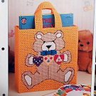 Bear Tote Bag -  Plastic Canvas Pattern in Mint Condition