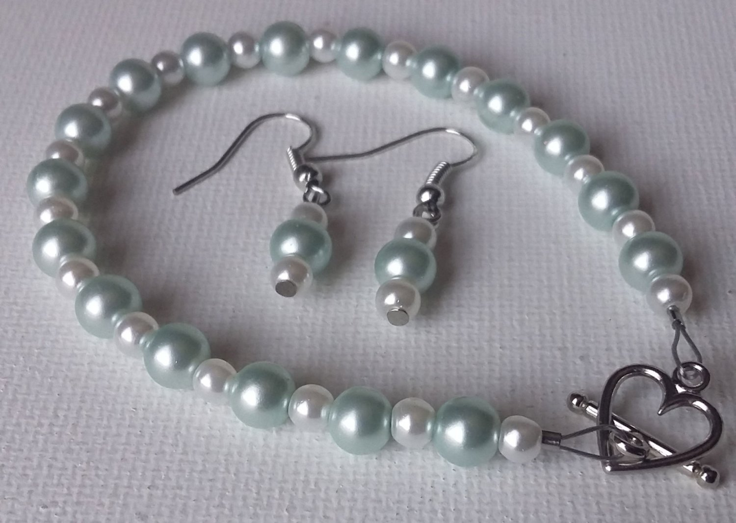 Light Blue and White Pearl Bracelet and Earrings Set