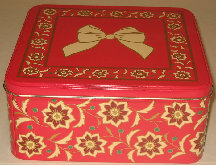 Red Floral & Bow Tin
