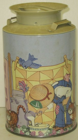 Kittens-and-Laundry Milk Can Tin