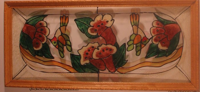 """Hummingbirds & Flowers"" Framed Glass Picture"