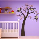 3 Monkeys on a tree Wall Vinyl Sticker Decal