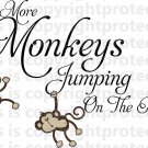 No more Monkeys jumping on the bed wall vinyl design decal Happy Monkeys Jungle Friends