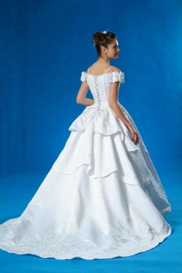 NEW FAIRYTALE WEDDING DRESS BRIDAL GOWN w/SILVER EMBROIDERY SIZE 22