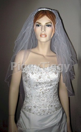 White 3 Tier Elbow Pencil Edge Wedding Dress Bridal Tiara Veil Vbl2031wt