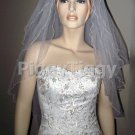 White 3 Tier Elbow Pencil Edge Wedding Dress Bridal Tiara Veil Vbl2031wt