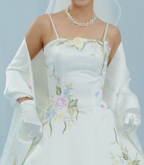 NEW PASTEL COLOR EMBROIDERED IVORY WEDDING DRESS BRIDAL GOWN SIZE 4