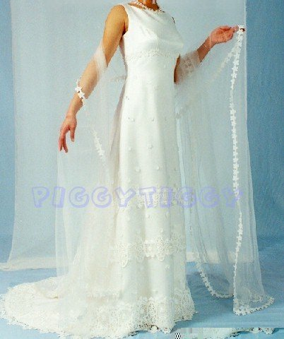 NEW SHEATH STYLE Wedding Gown Bridal Dress ELEGANT & CHIC SIZE 14 **Free Mantilla Veil**