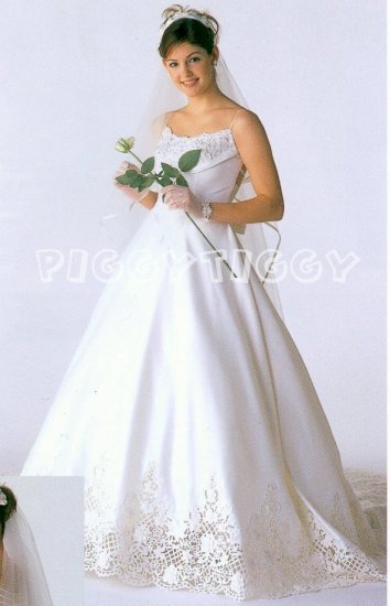 NEW SPECTACULAR SWAROVSKI CRYSTAL AND LACE ACCENTS WEDDING DRESS BRIDAL GOWN SIZE 16