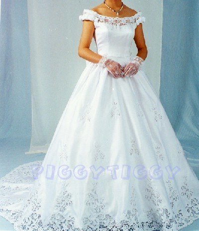 NEW OUTRAGEOUS PORTRAIT WEDDING GOWN BRIDAL DRESS SWAROVSKI CRYSTALS SIZE 8