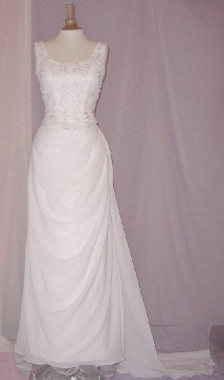 NEW ELEGANT CHIFFON EMBROIDERED IVORY 2-PCS WEDDING DRESS BRIDAL GOWN SIZE 14