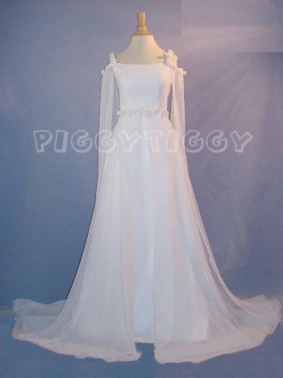 BRAND NEW ROMANTIC RENAISSANCE STYLE CHIFFON WEDDING DRESS GOWN SIZE 10