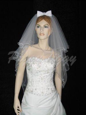 4 Tier White Wedding Veil Bridal Pearl Accent Filigree Wedding Dress Veil V102wt