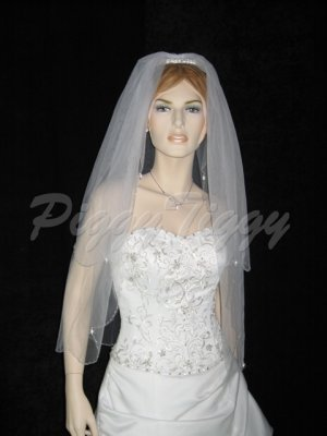 2 Tier White Bridal Fingertip Beaded Dangles Wedding Tiara Veil V112wt