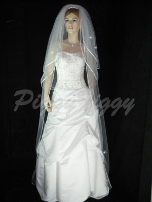 3 Tier White Bridal Cathedral Length Swarovski Crystal Rhinestones Wedding Veil V116wt