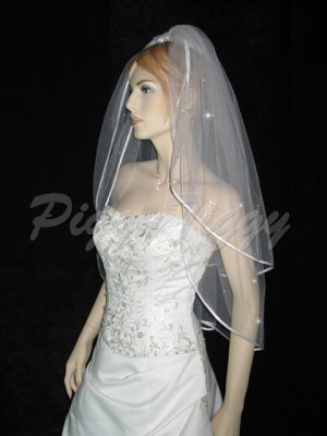 2 Tier White Bridal Satin Edge Fingertip Swarovski Crystal Rhinestones Wedding Veil V117wt