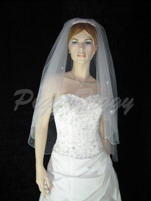 2 Tier White Bridal Fingertip Length Swarovski Crystal Rhinestones Pearl Accent Wedding Veil V119wt