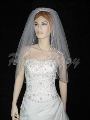 2 Tier White Bridal Elbow Length Satin Rattail Edge Wedding Tiara Veil V120wt