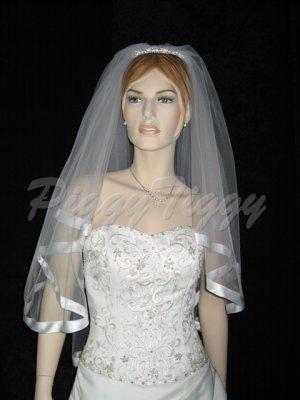 """2 Tier White Bridal Fingertip Length 1"""" Satin Edge Wedding Tiara Veil V122wt"""
