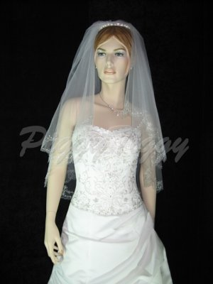 2 Tier White Bridal Fingertip Scallop Bead Embroider Wedding Tiara Veil V123wt